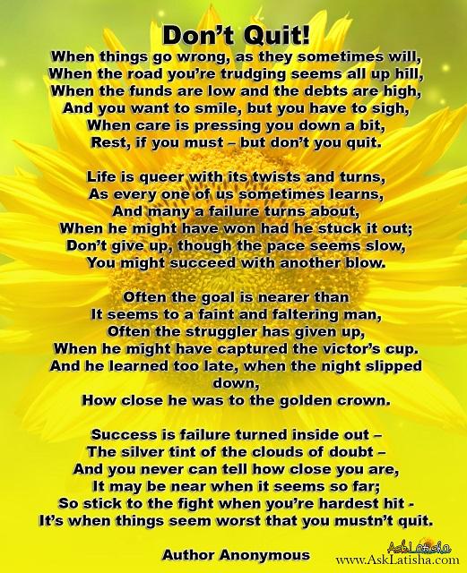 Don't Quit Poem