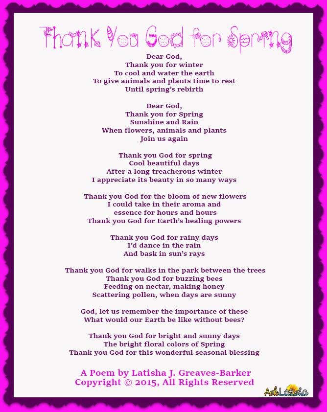Spring Poem Printable