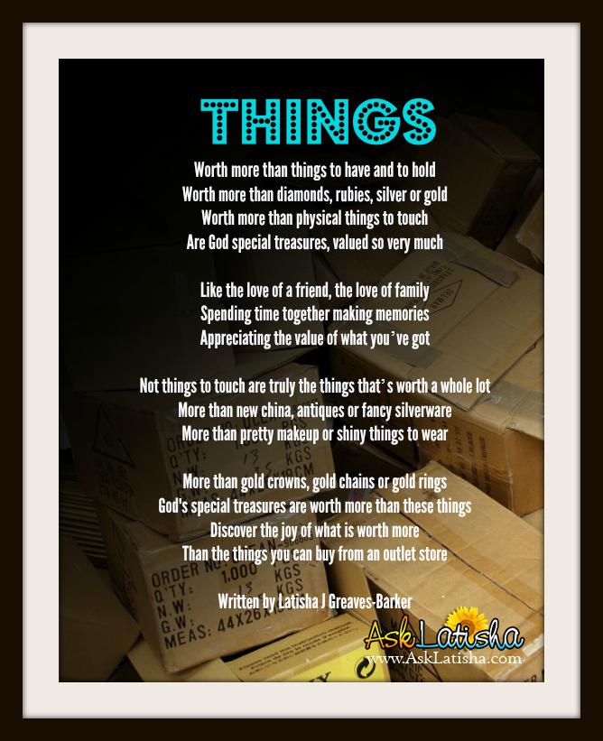 Things Poem Pinnable